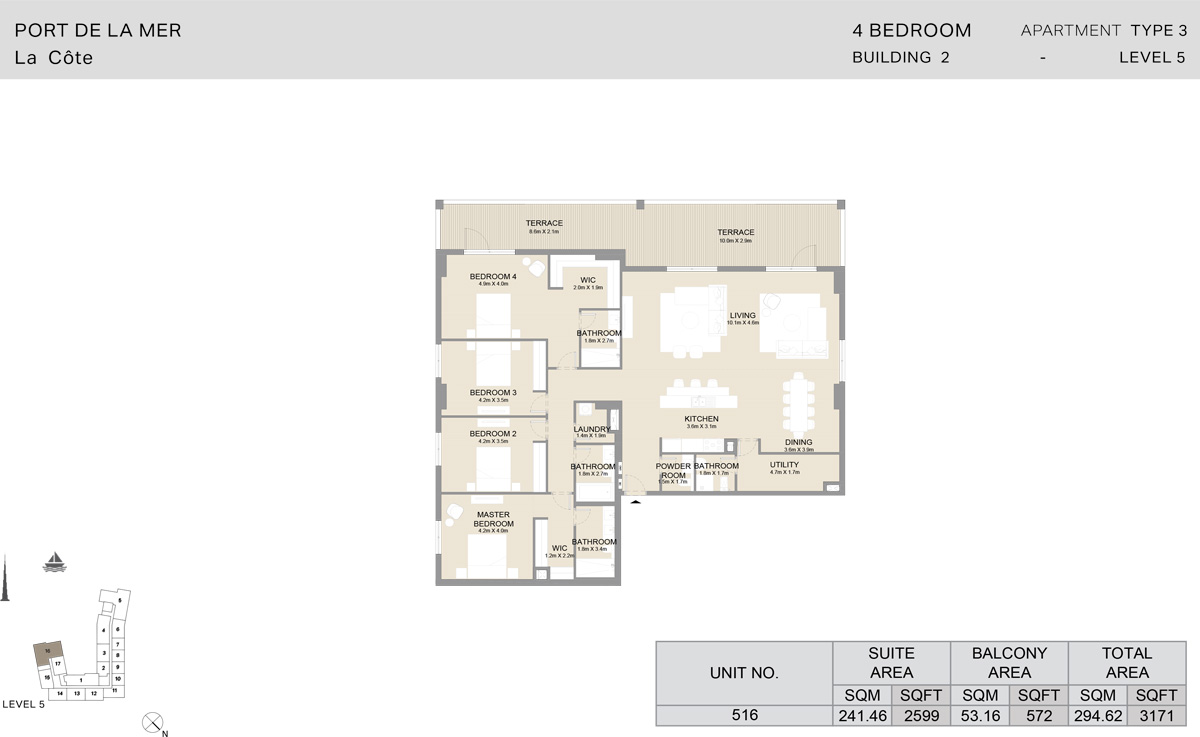 4 Bedroom  Building 2, Type 3, Level 5, Size 3171   sq. ft.