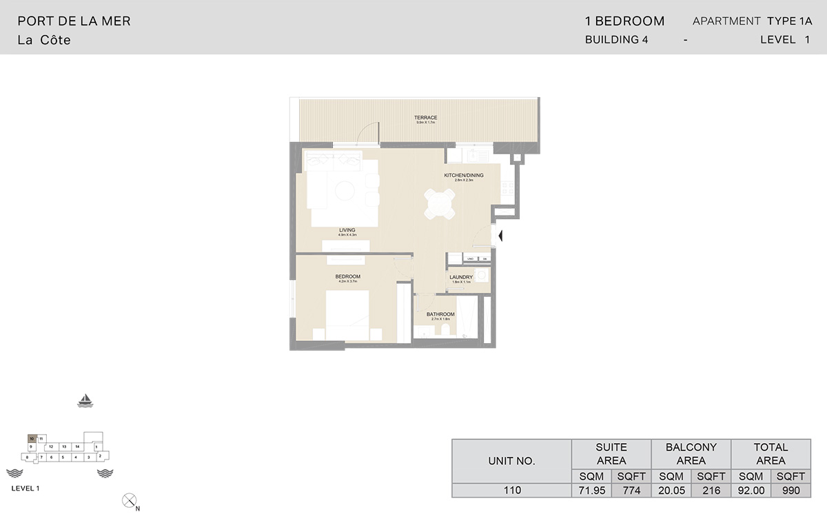 1 Bedroom Building 4, Type 1A, Level 1, Size 990   sq. ft.
