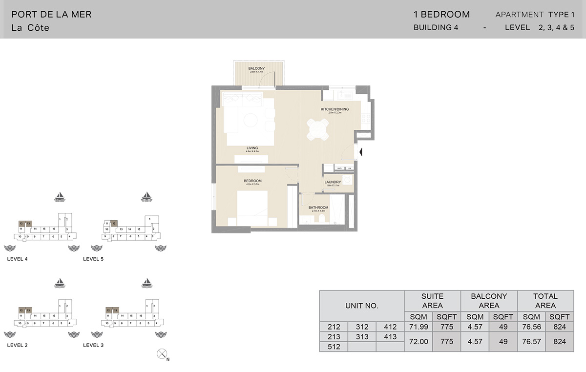 1 Bedroom Building 4, Type 1, Level 2 to 5, Size 824   sq. ft.