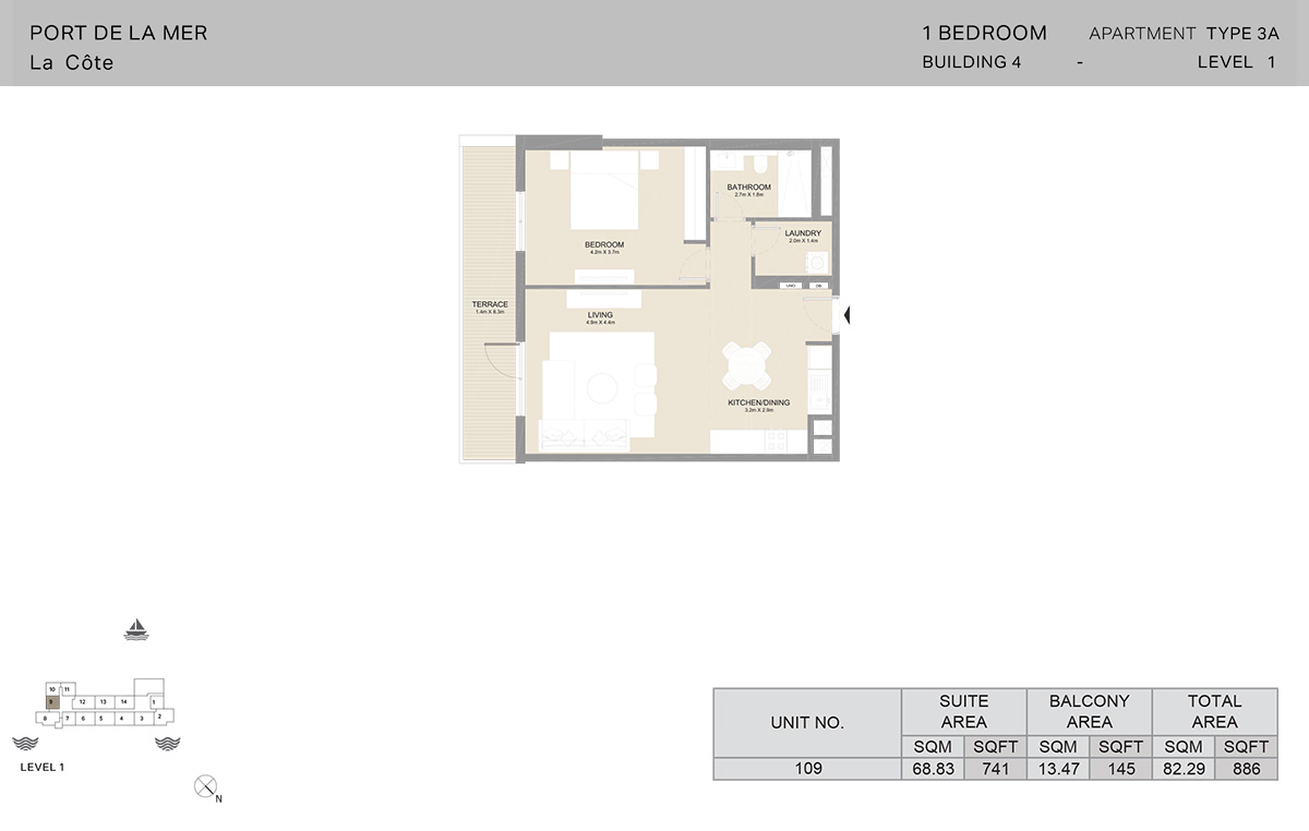 1 Bedroom Building 4, Type 3A, Level 1, Size 886   sq. ft.