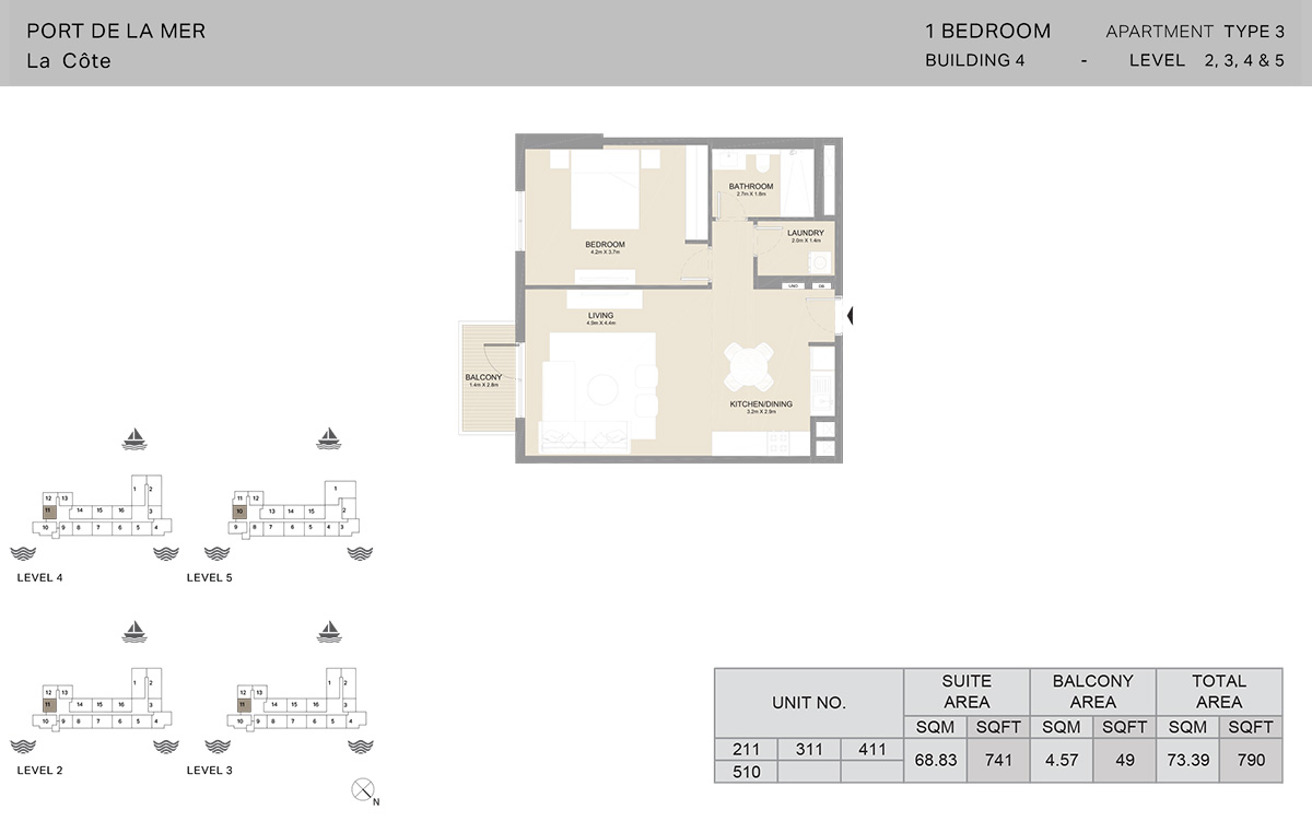 1 Bedroom Building 4, Type 3, Level 2 to 5, Size 790   sq. ft.
