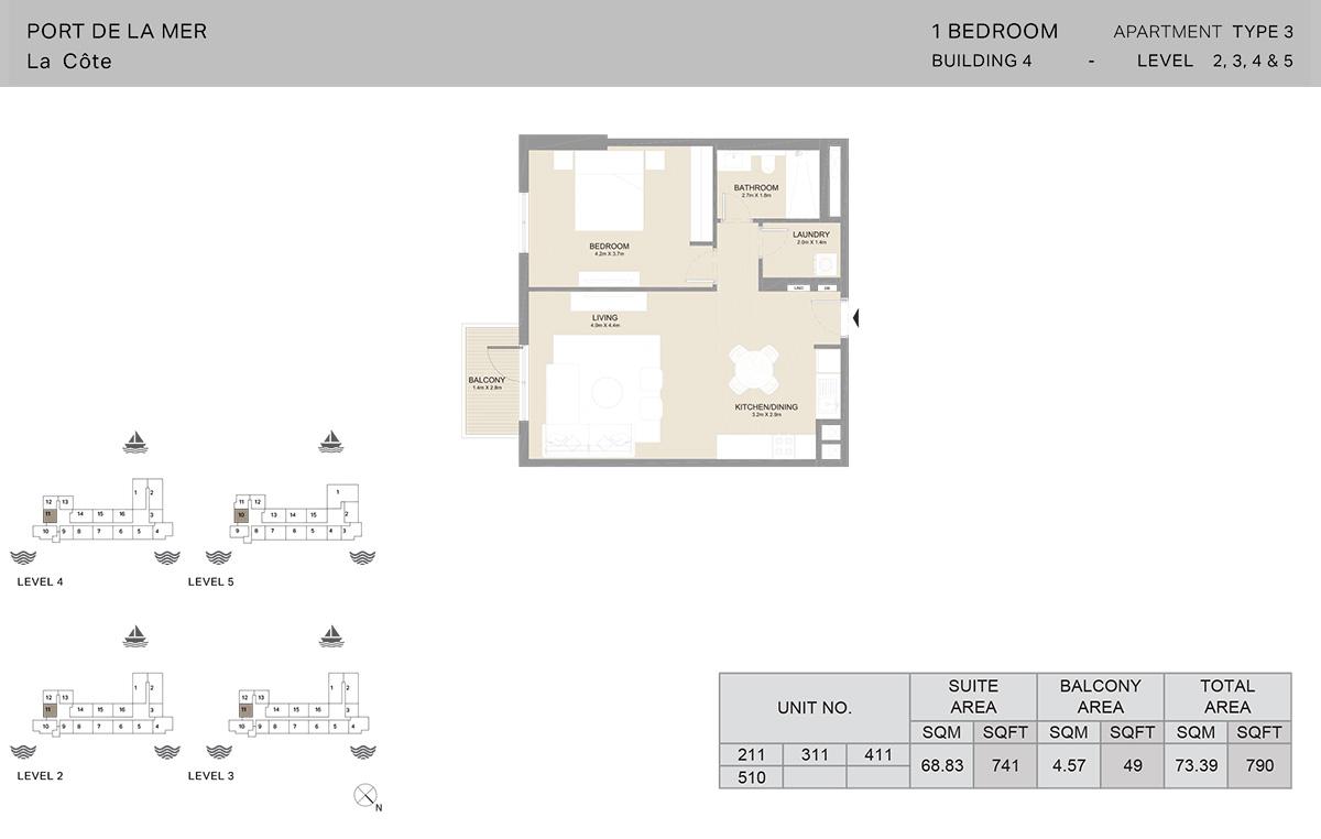1-комнатное здание 4, тип 3, уровни с 2 по 5, размер 790 кв. Футов.