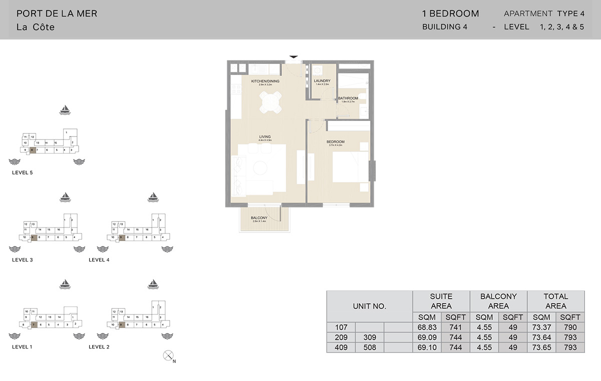 1 Bedroom Building 4, Type 4, Level 1 to 5, Size 793   sq. ft.