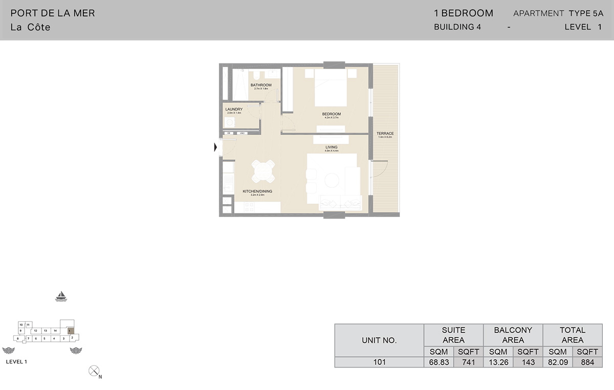 1 Bedroom Building 4, Type 5A, Level 1, Size 884   sq. ft.