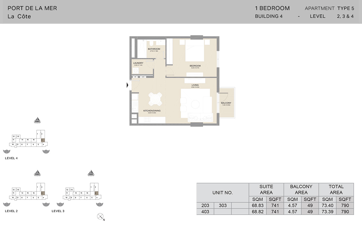 1 Bedroom Building 4, Type 5, Level 2 to 4, Size 790   sq. ft.