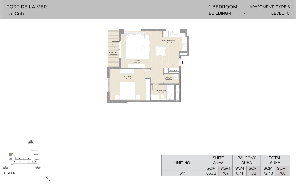 1 Bedroom Building 4, Type 6, Level 5, Size 780   sq. ft.