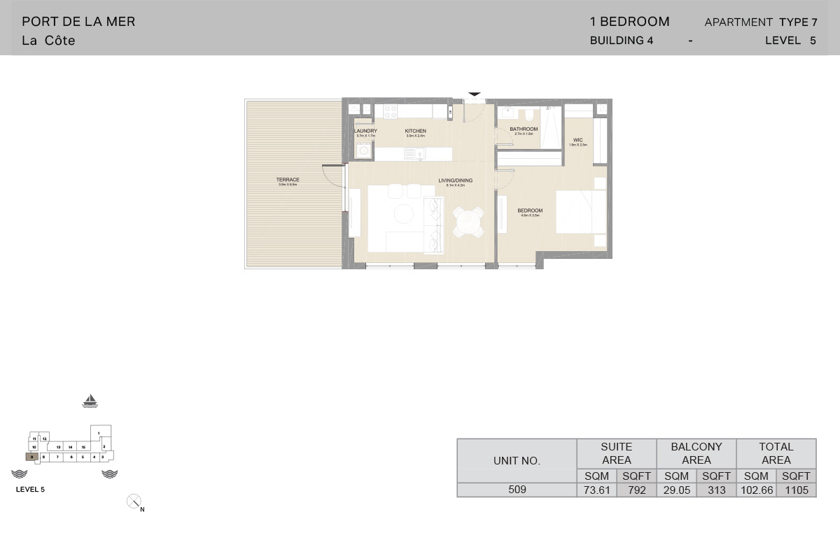 1 Bedroom Building 4, Type 7, Level 5, Size 1105   sq. ft.