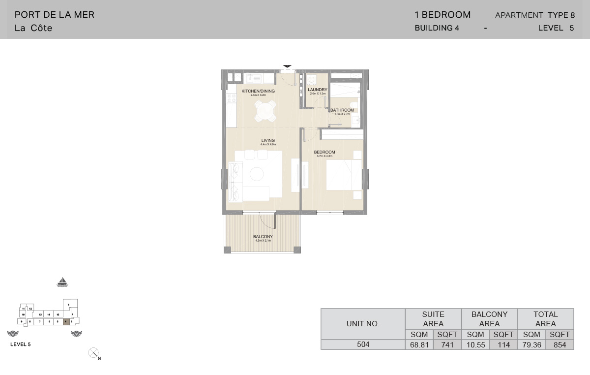 1 Bedroom Building 4, Type 8, Level 5, Size 854   sq. ft.
