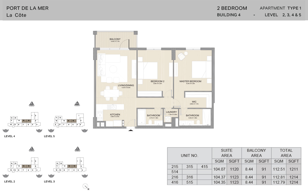 2 Bedroom Building 4, Type 1, Level 2 to 5, Size 1214   sq. ft.