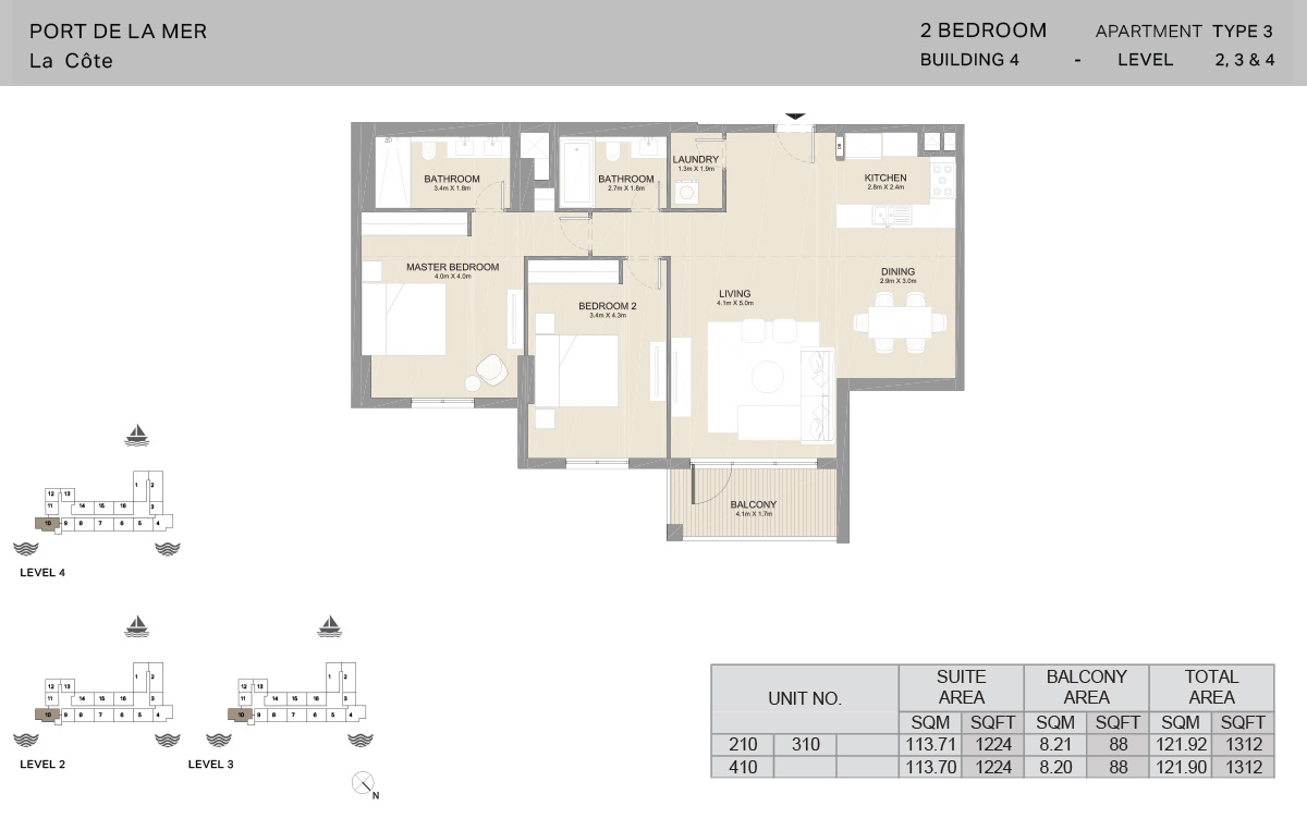 2 Bedroom Building 4, Type 3, Level 2 to 4, Size 1312   sq. ft.