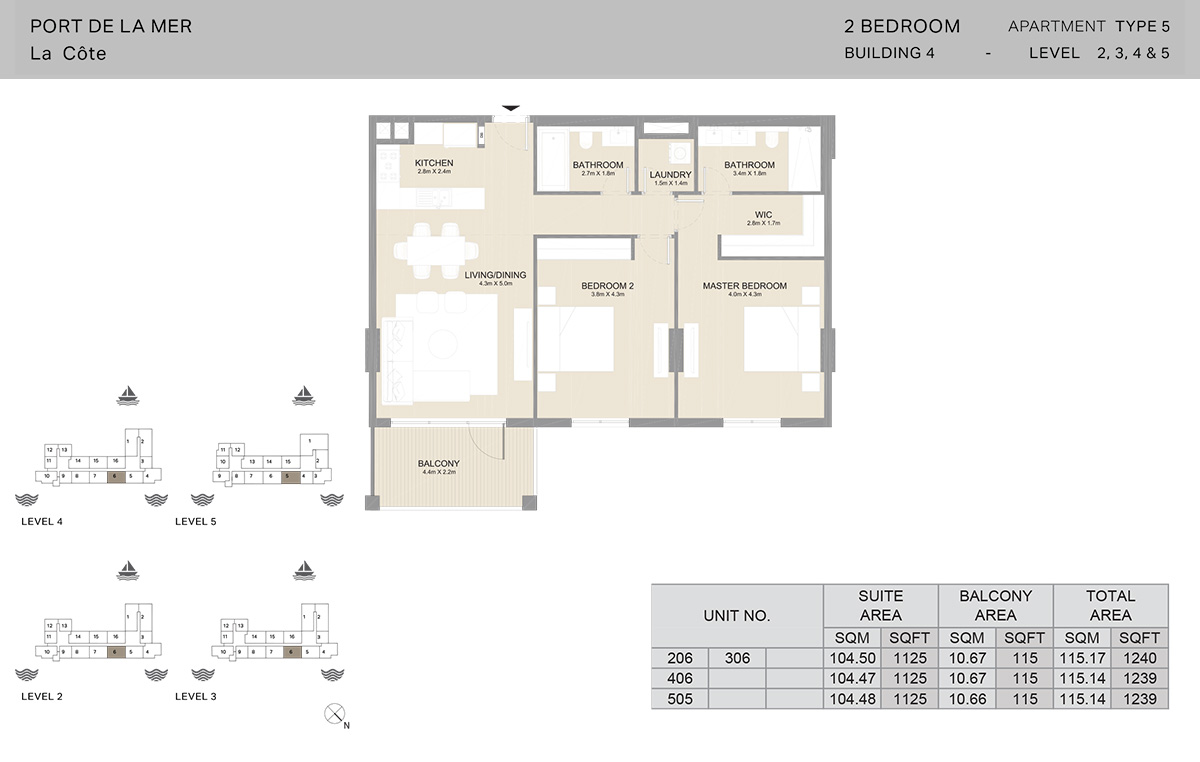 2 Bedroom Building 4, Type 5, Level 2 to 5, Size 1240   sq. ft.