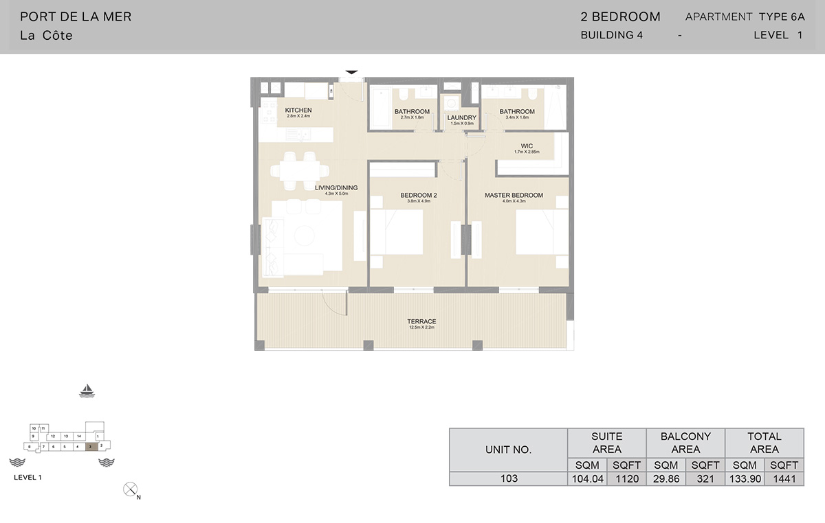 2 Bedroom Building 4, Type 6A, Level 1, Size 1441   sq. ft.