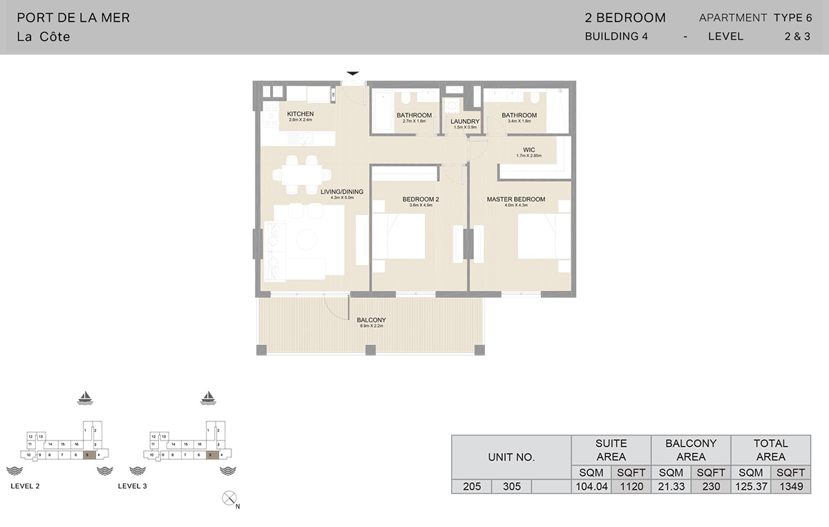 2 Bedroom Building 4, Type 6, Level 2 to 3, Size 1349   sq. ft.