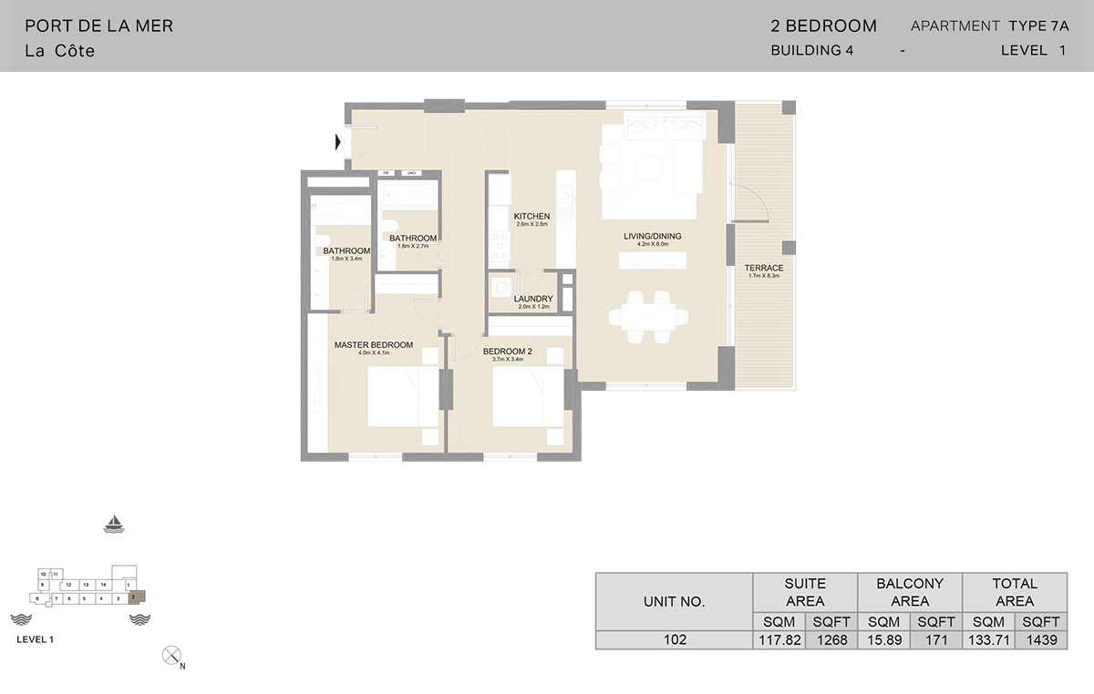 2 Bedroom Building 4, Type 7A, Level 1, Size 1439   sq. ft.