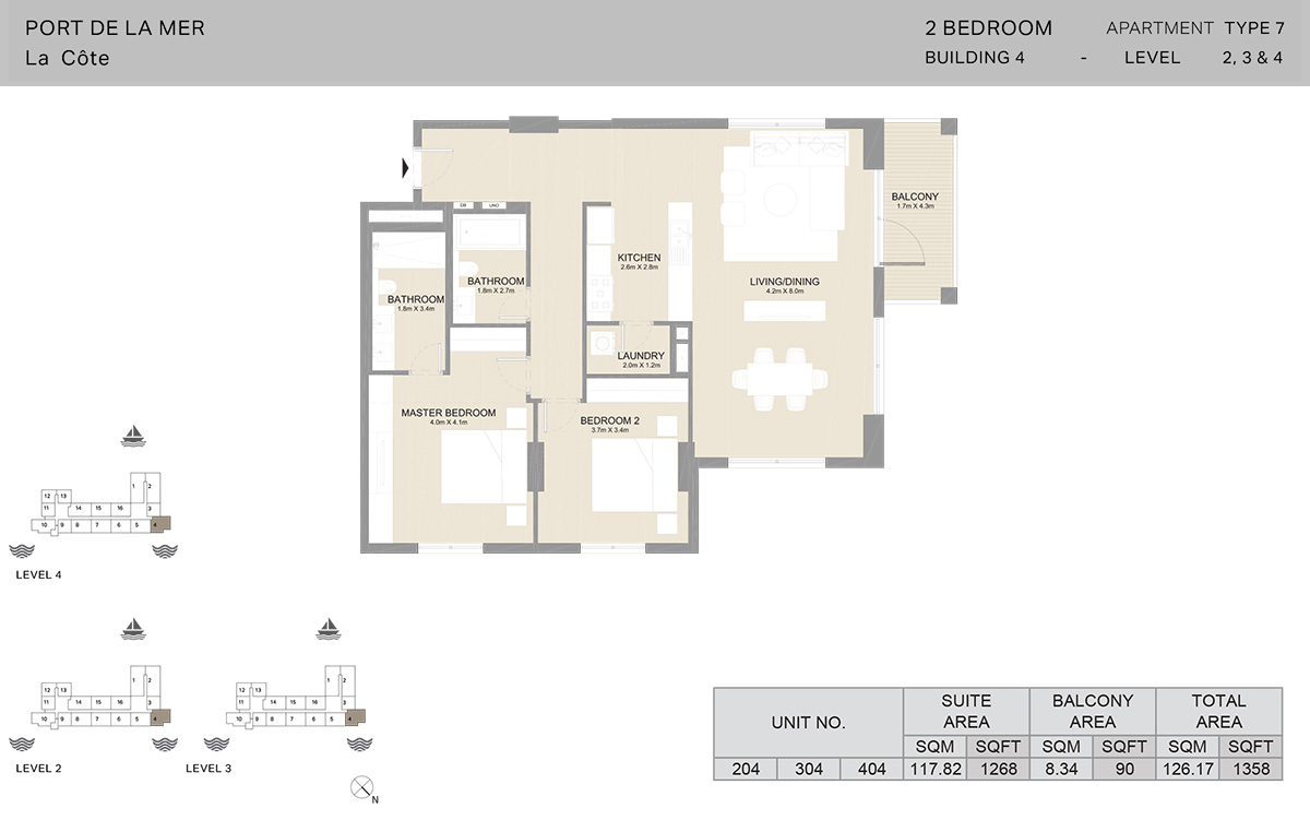 2 Bedroom Building 4, Type 7, Level 2 to 4, Size 1358   sq. ft.