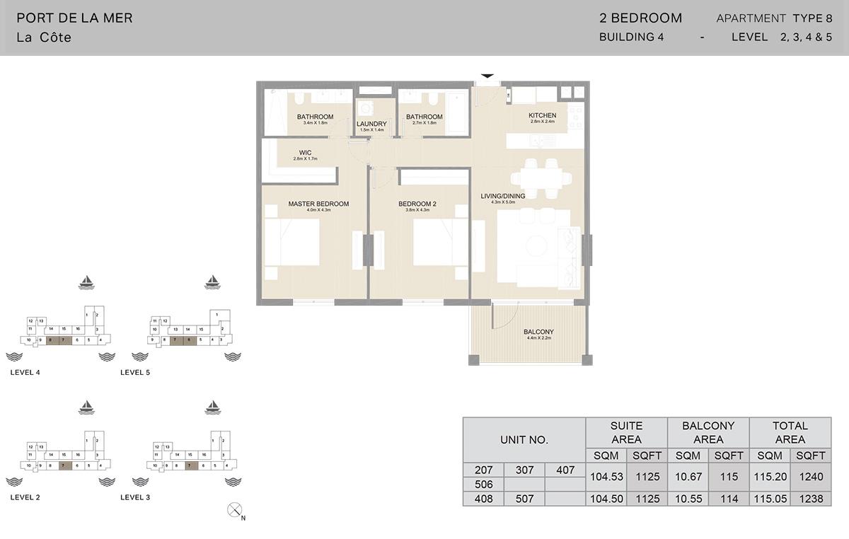 2-комнатное здание 4, тип 8, уровни от 2 до 5, размер 1240 кв. Футов.