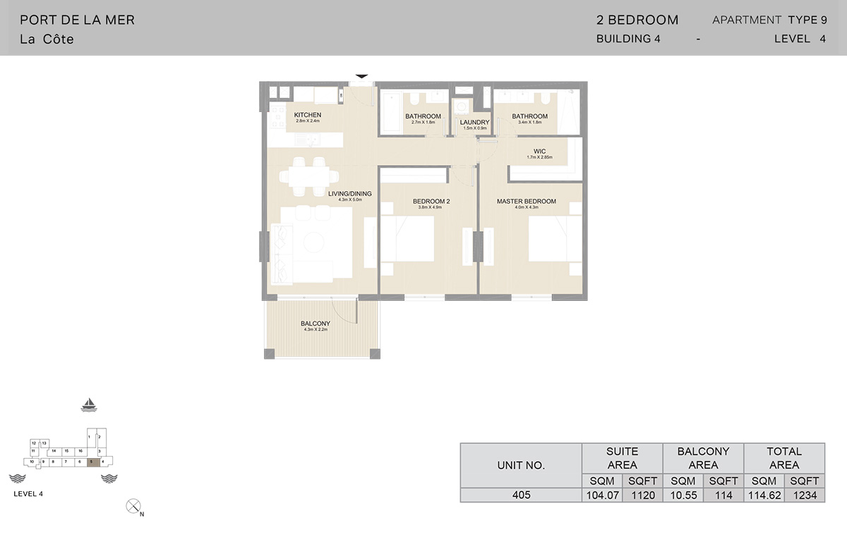2-комнатное здание 4, тип 9, уровень 4, размер 1234 кв. Фута.