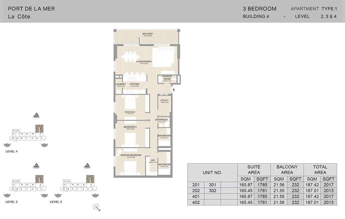 3 Bedroom Building 4, Type 1, Level 2 to 4, Size 2017   sq. ft.