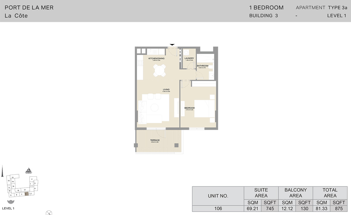 1 Bedroom Building 3 - Level 1, Size 875    sq. ft.