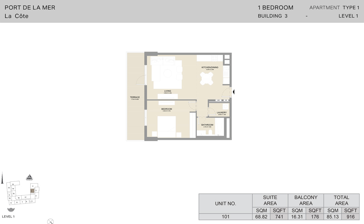 1 Bedroom Building 3 Level 1, Size 916    sq. ft.