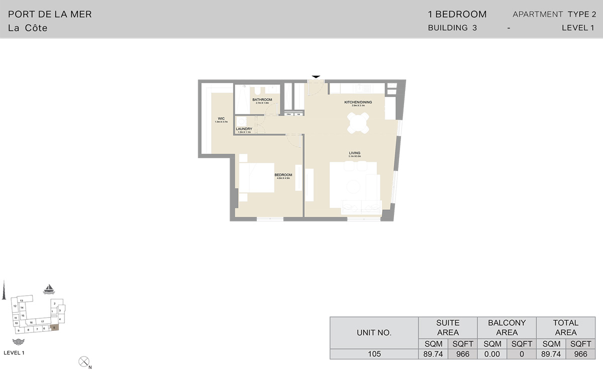 1 Bedroom Building 3 Level 1, Size 966    sq. ft.
