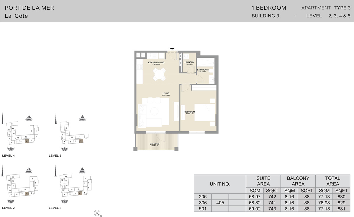 1 Bedroom Building 3 Level 2 To 5, Size 831    sq. ft.