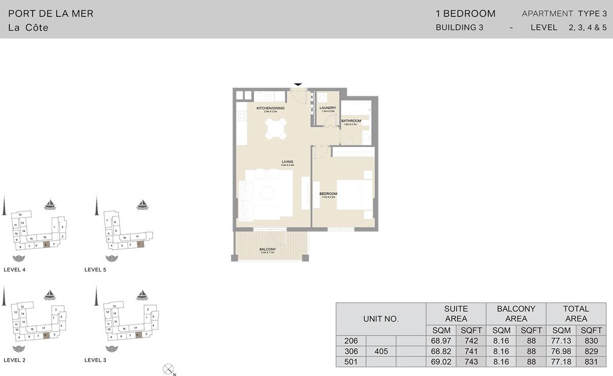 1卧室3号楼2楼至5楼,面积831平方英尺