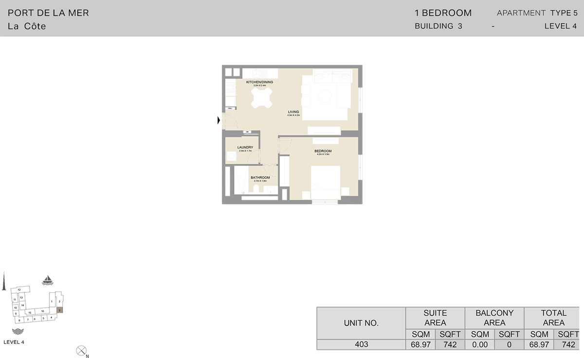 1 Bedroom Building 3 Level 4, Size 742    sq. ft.