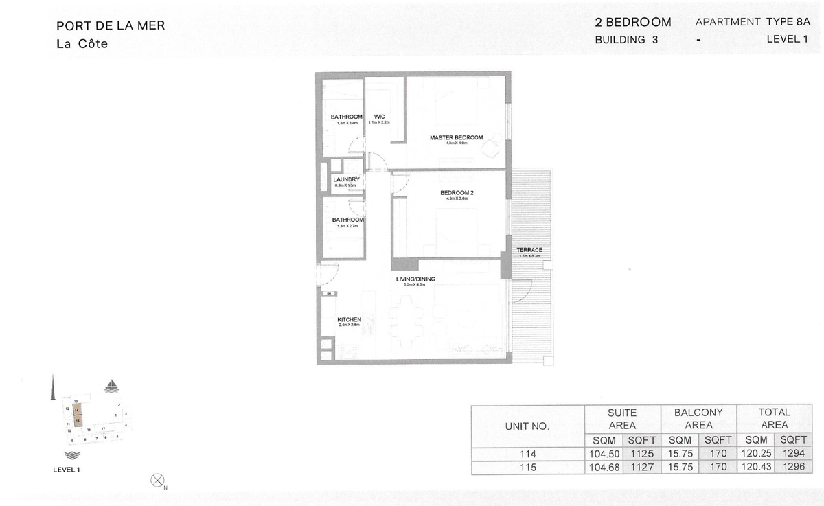 2 Bedroom Building 3 Level 1, Size 1296    sq. ft.