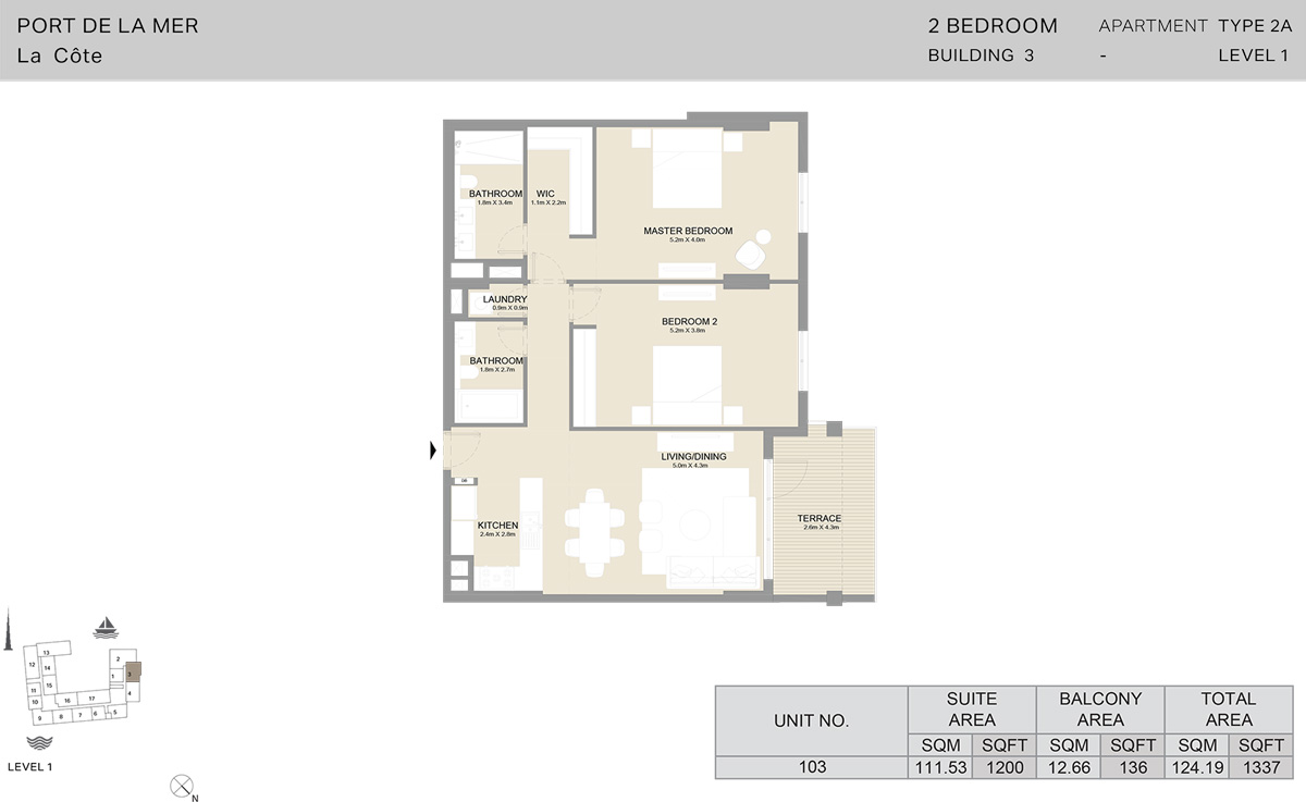 2 Bedroom Building 3 Level 1, Size 1337  sq. ft.