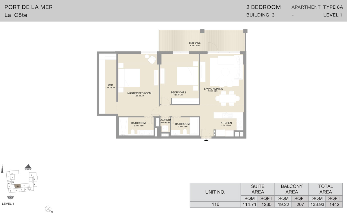2 Bedroom Building 3 Level 1, Size 1442    sq. ft.