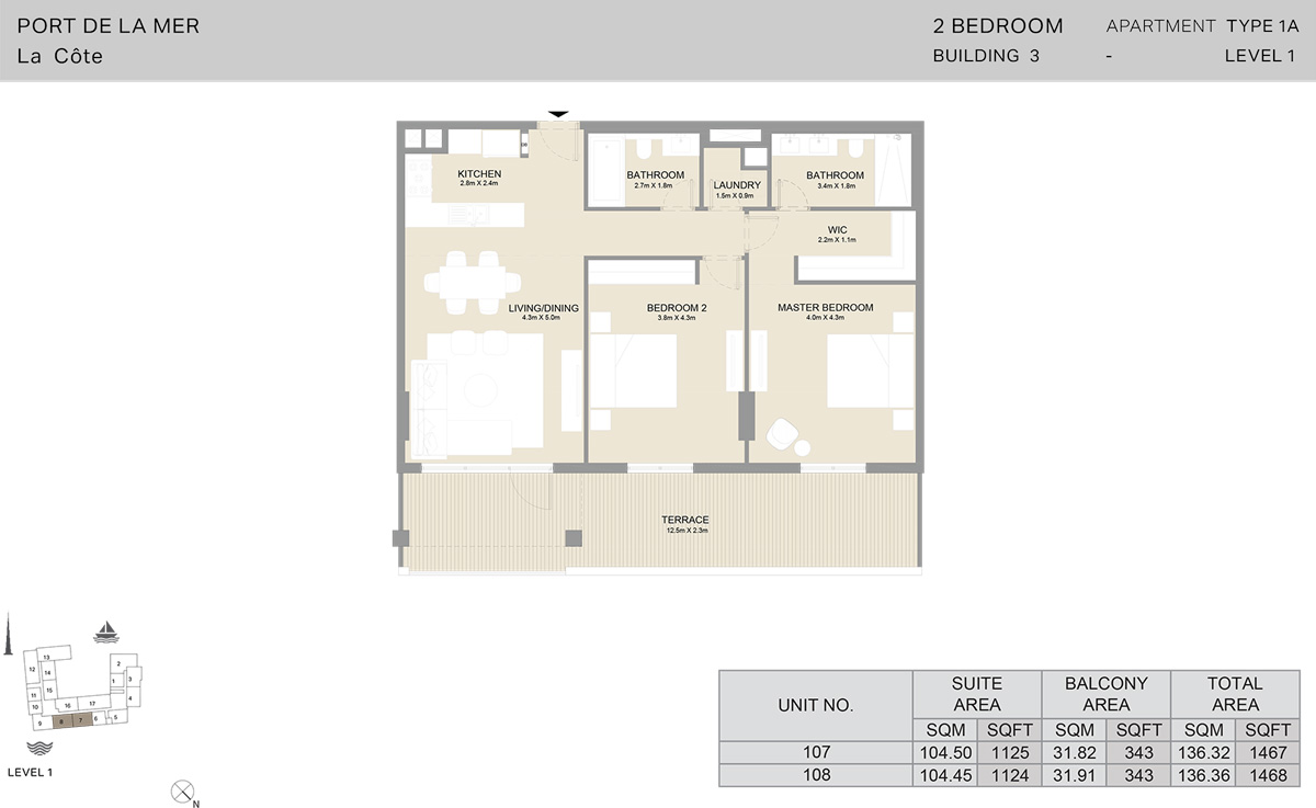 2 Bedroom Building 3 Level 1, Size 1468    sq. ft.