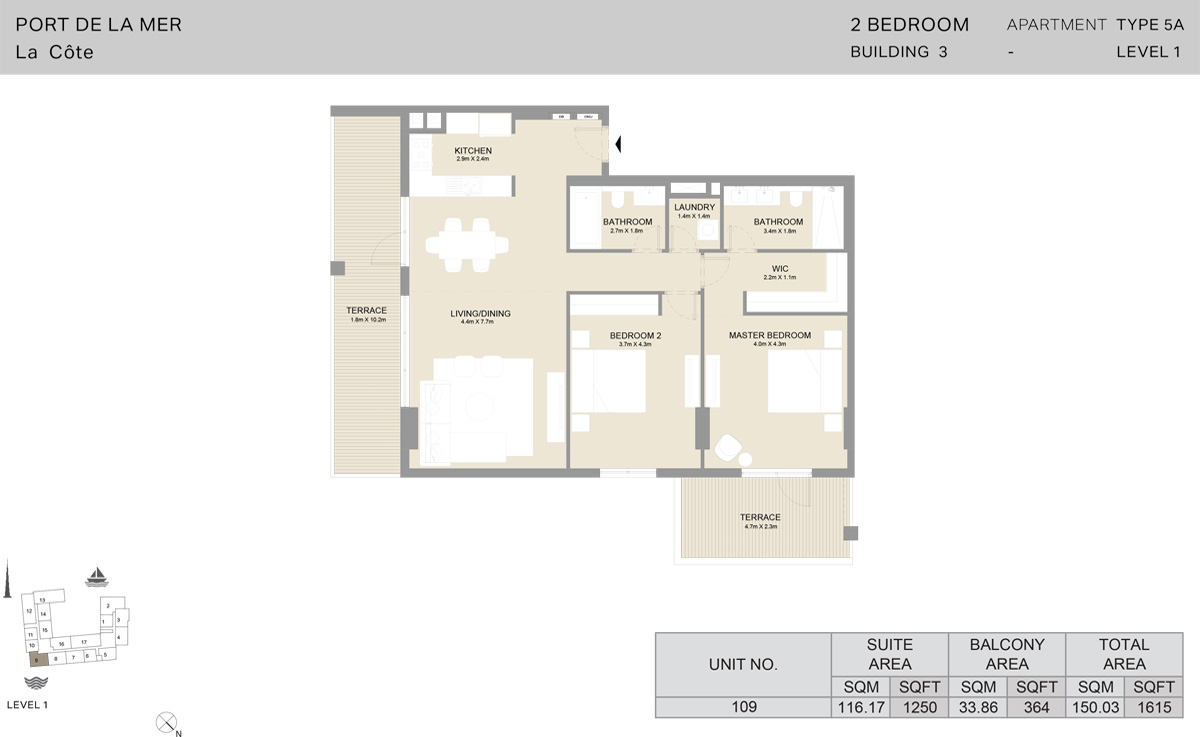 2 Bedroom Building 3 Level 1, Size 1615    sq. ft.