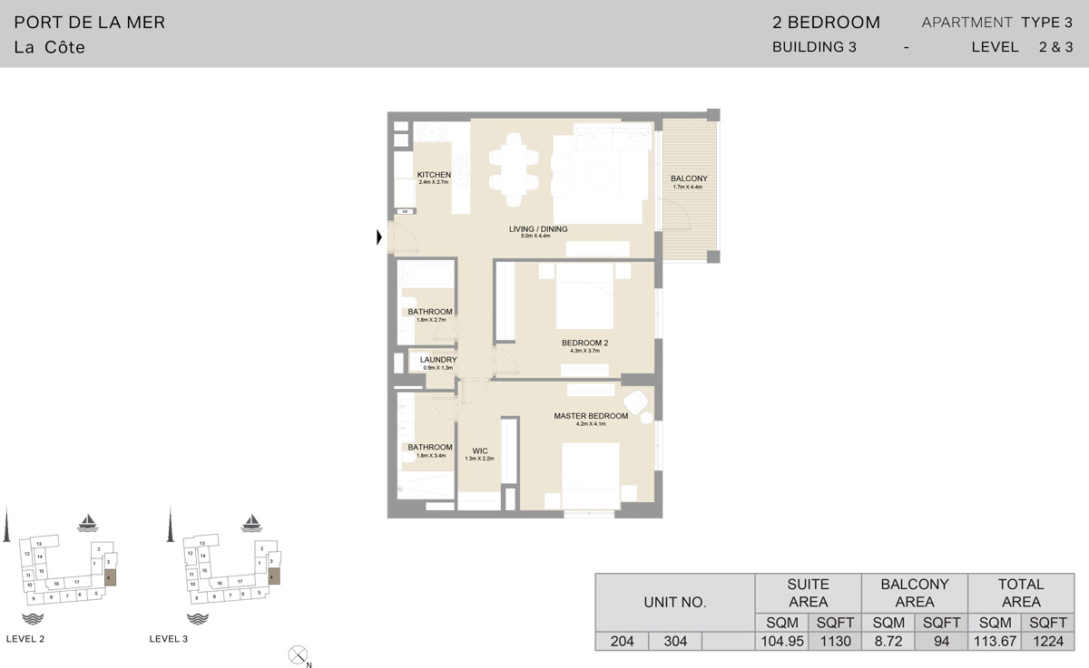 2 Bedroom Building 3 Level 2 To 3, Size 1224    sq. ft.