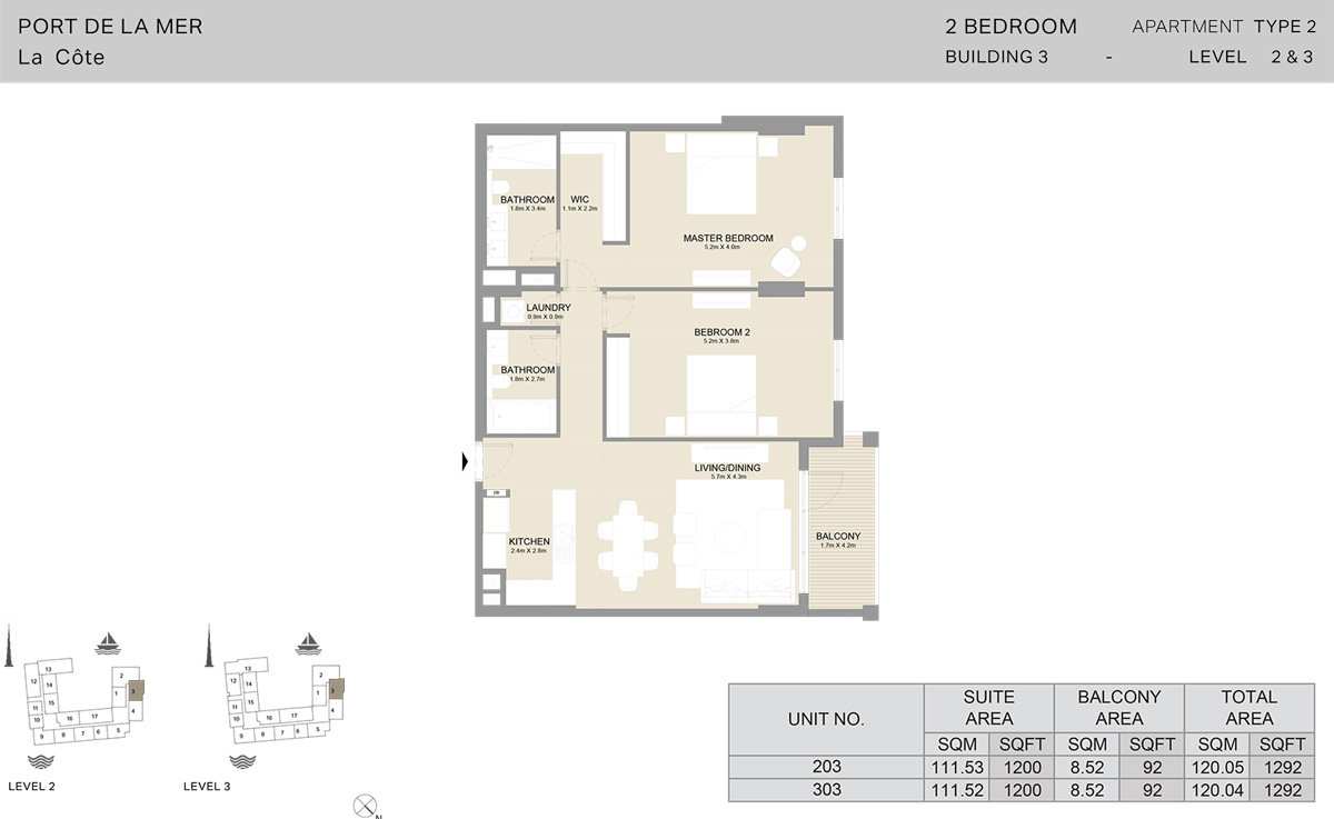 2 Bedroom Building 3 Level 2 To 3, Size 1292    sq. ft.