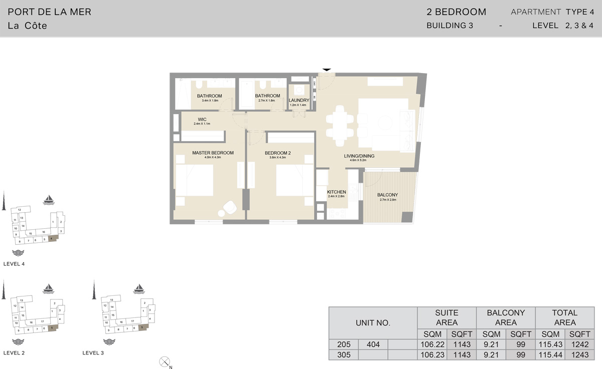 2 Bedroom Building 3 Level 2 To 4, Size 1243    sq. ft.