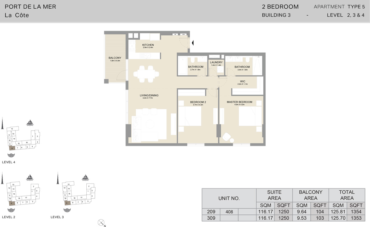 2 Bedroom Building 3 Level 2 To 4, Size 1353    sq. ft.