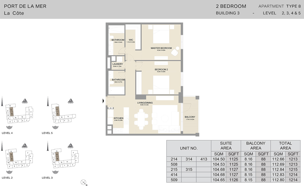 2 Bedroom Building 3 Level 2 To 5, Size 1214    sq. ft.
