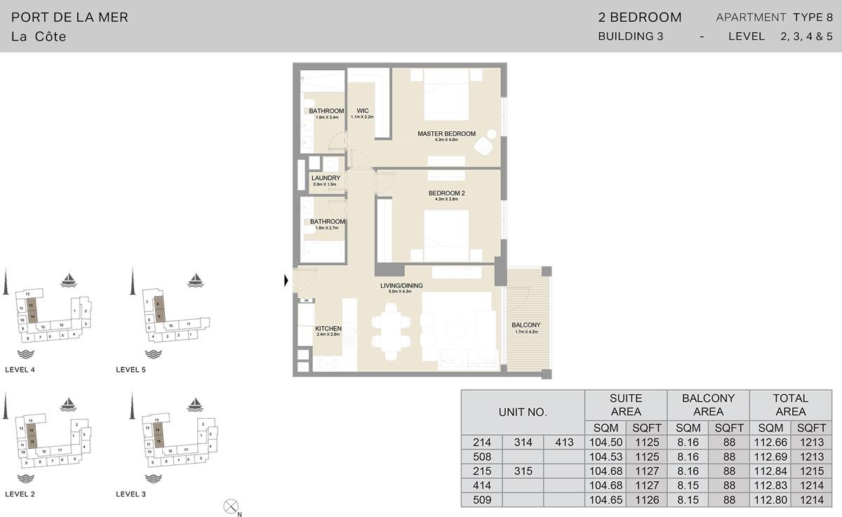 2卧室3号楼2楼至5楼,面积1214平方英尺