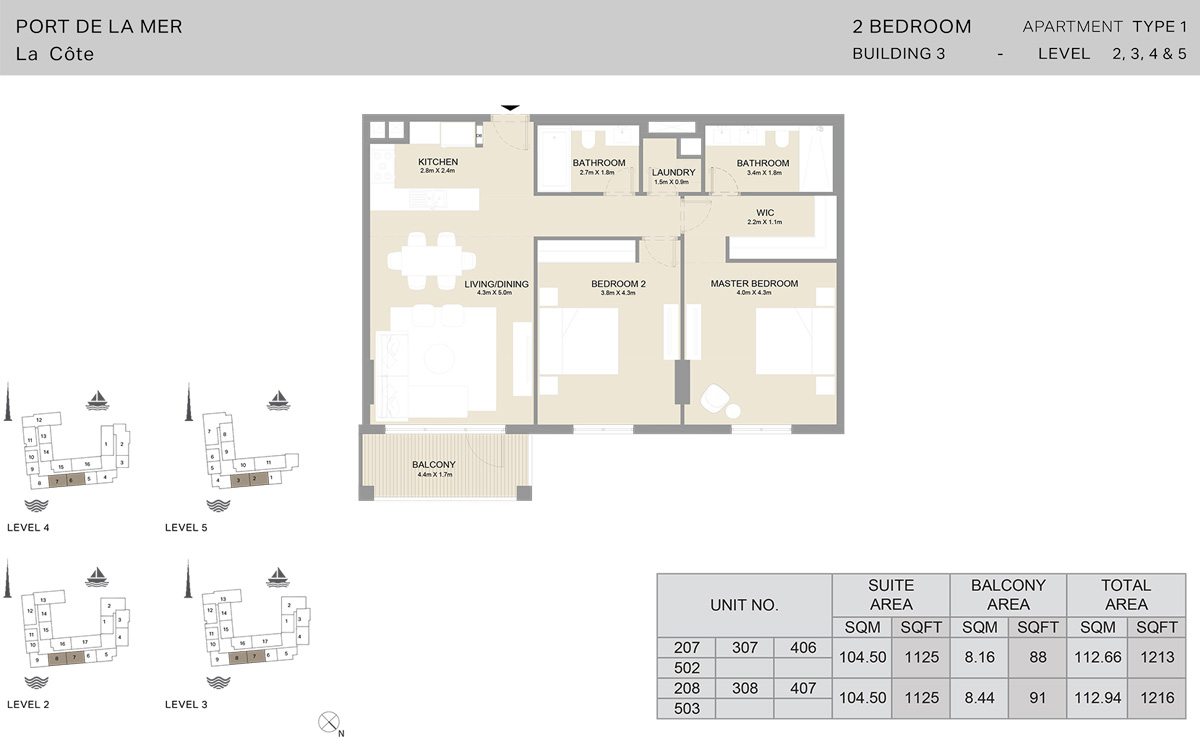 2 Bedroom Building 3 Level 2 To 5, Size 1216     sq. ft.