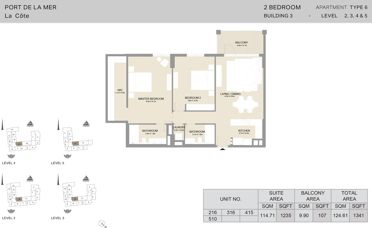 2 Bedroom Building 3 Level 2 To 5, Size 1341    sq. ft.
