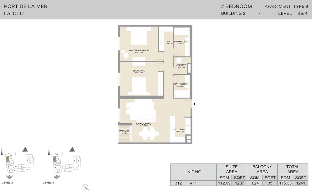 2 Bedroom Building 3 Level 3 To 4, Size 1241    sq. ft.