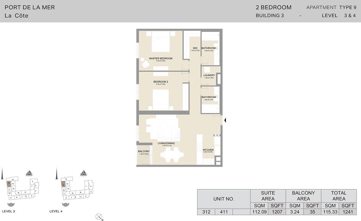 2卧室3号楼3至4楼,面积1241平方英尺