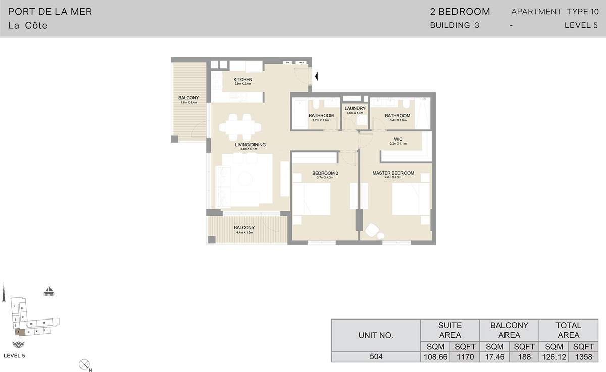 2 Bedroom Building 3 Level 5, Size 1358    sq. ft.
