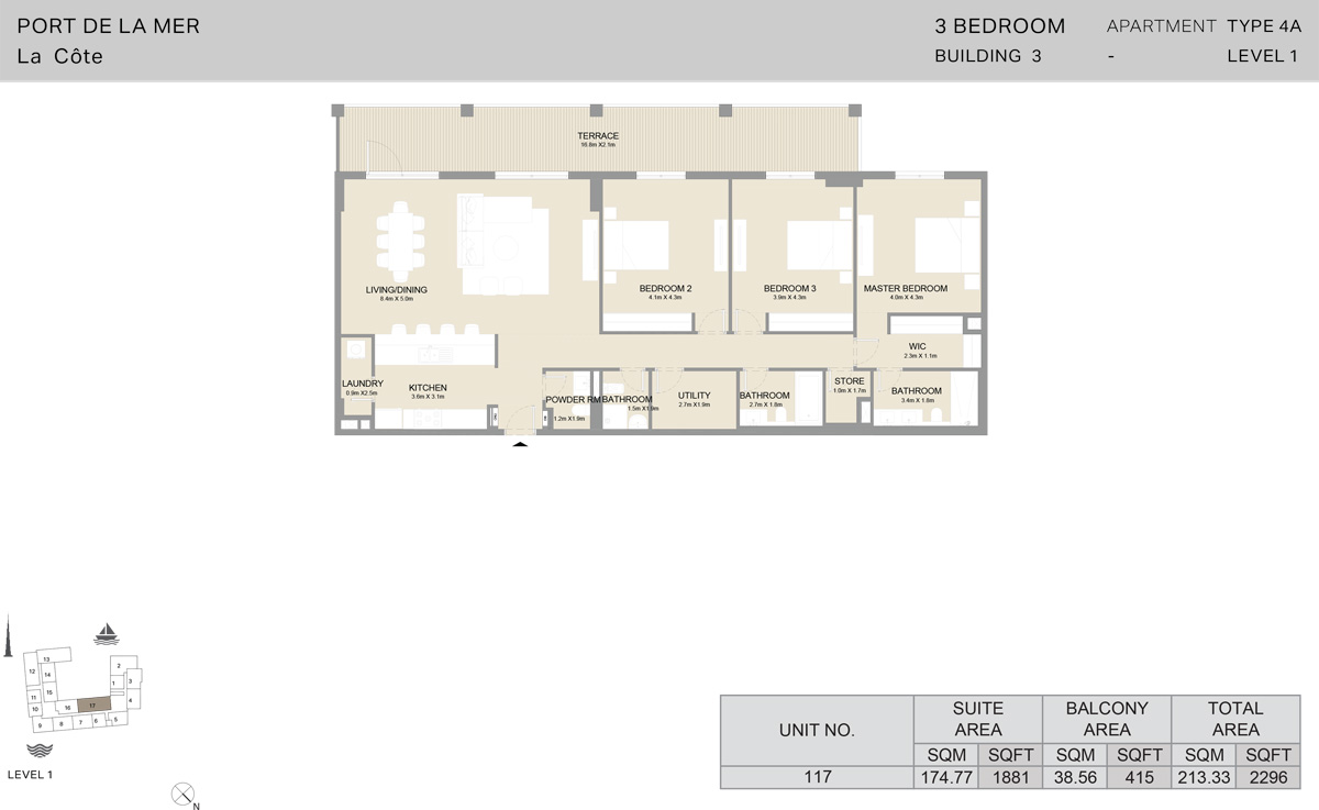3 Bedroom Building 3 Level 1, Size 2296    sq. ft.