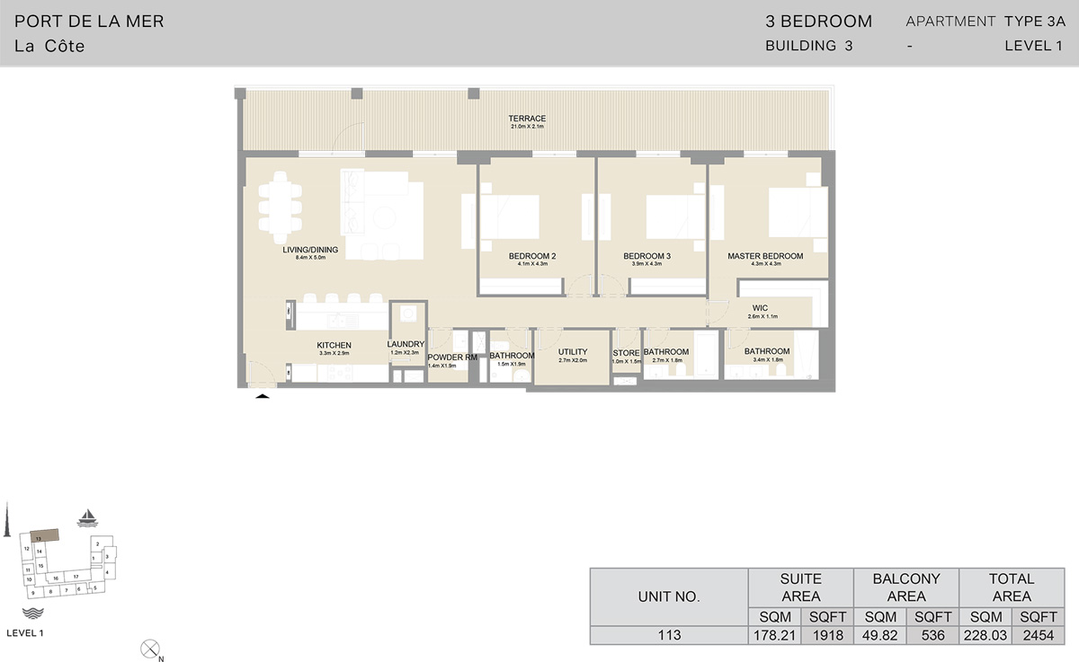 3 Bedroom Building 3 Level 1, Size 2454    sq. ft.