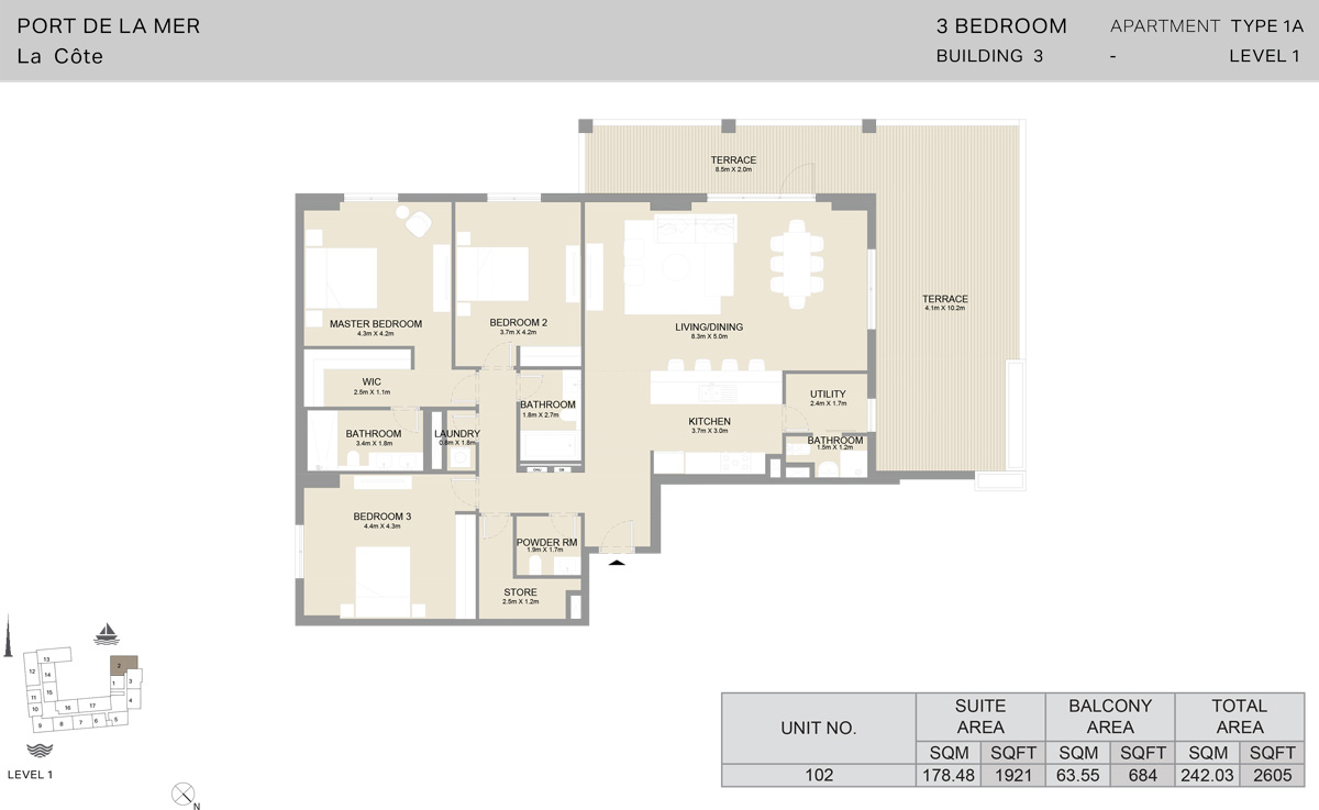 3 Bedroom Building 3 Level 1, Size 2605    sq. ft.