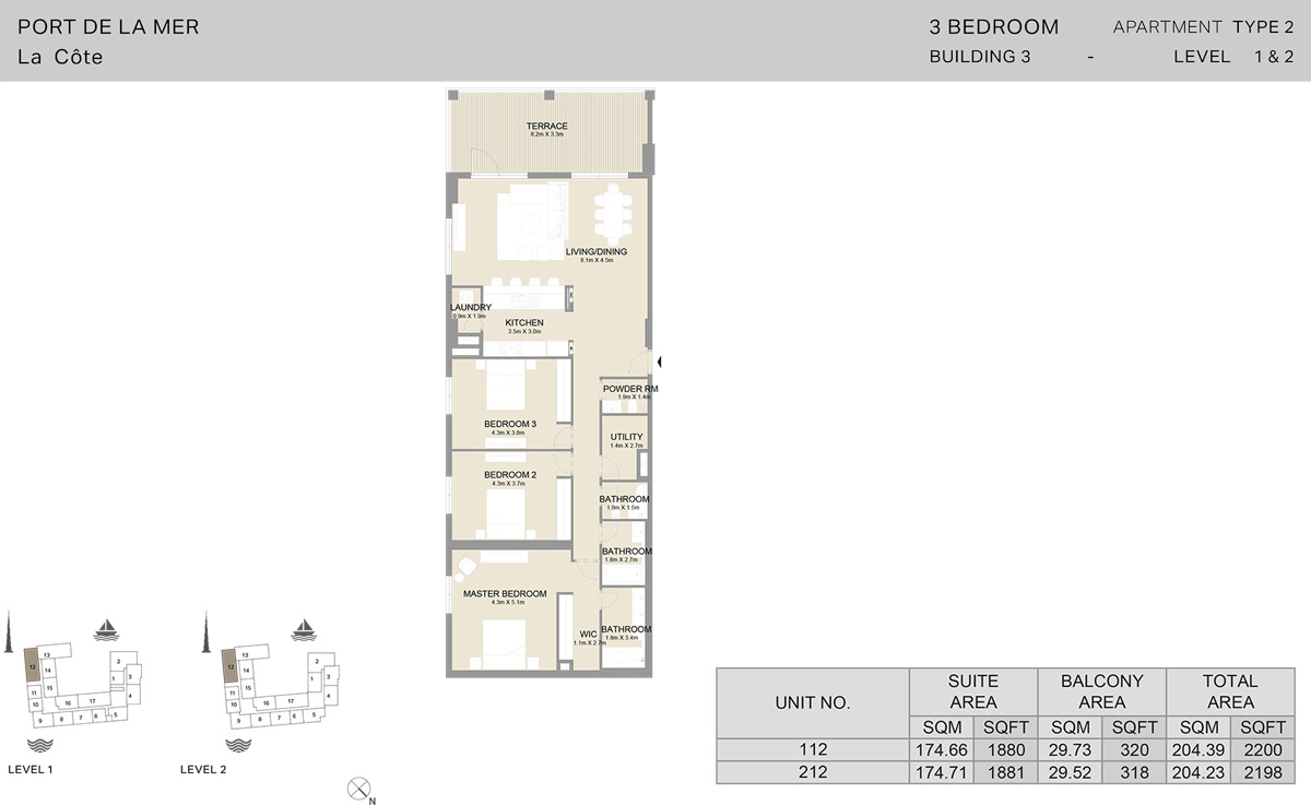 3 Bedroom Building 3 Level 1 To 2, Size 2198    sq. ft.