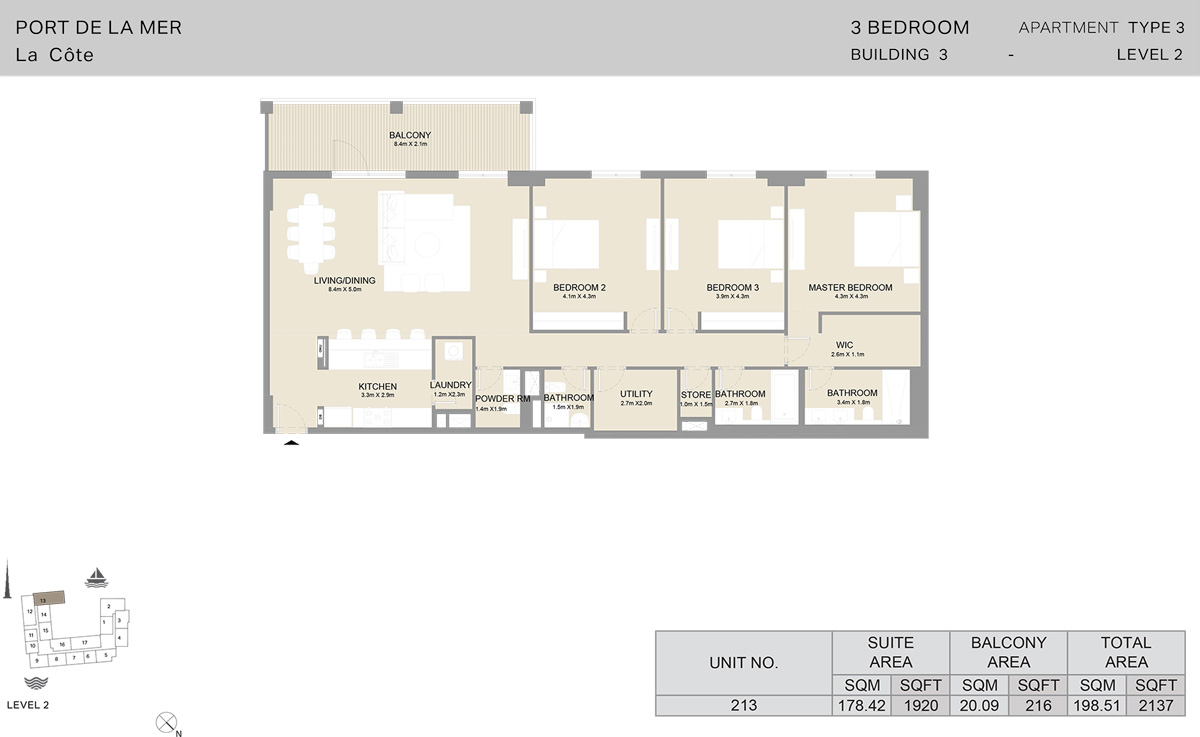 3 Bedroom Building 3 Level 2, Size 2137    sq. ft.