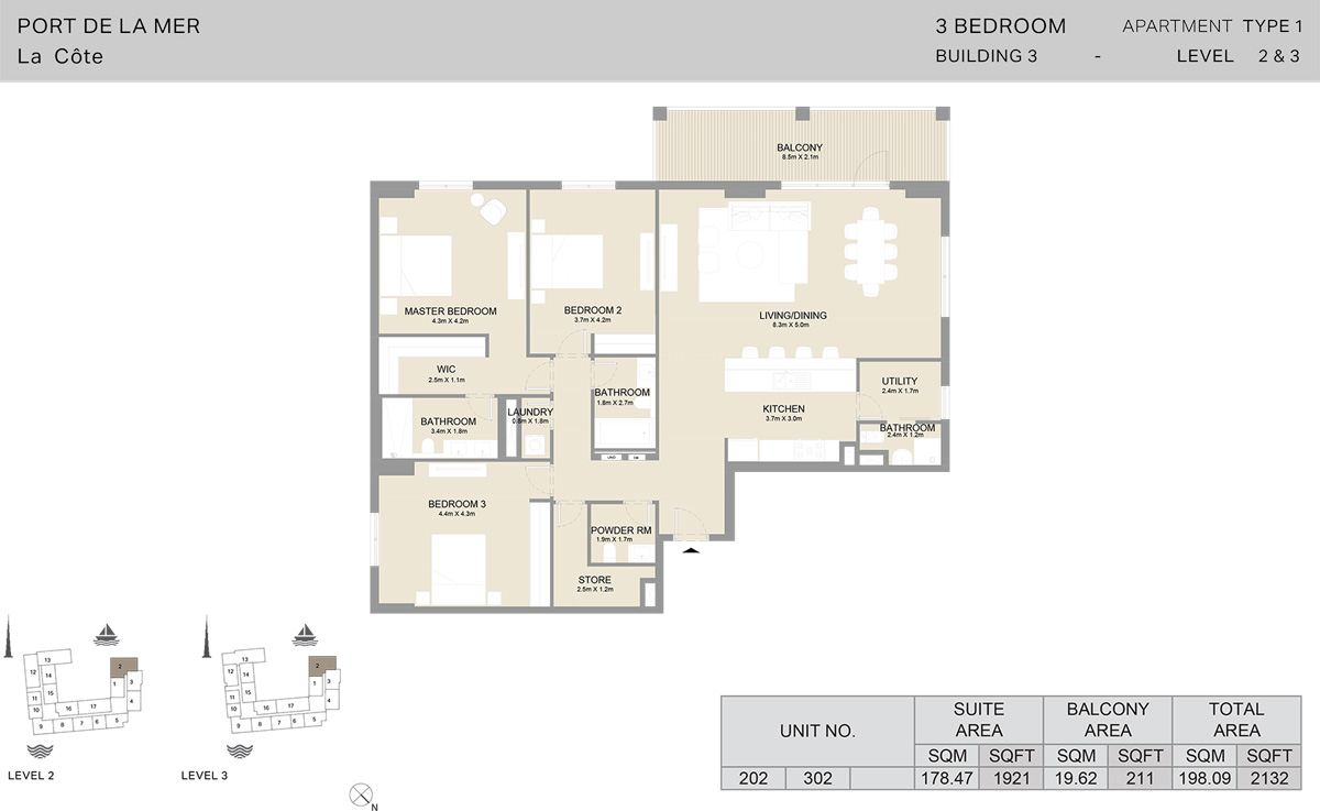 3 Bedroom Building 3 Level 2 To 3, Size 2132  sq. ft.